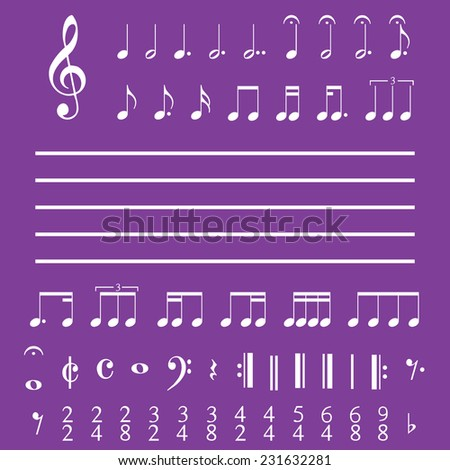 An Illustration of Musical Notes and Numbers - stock vector
