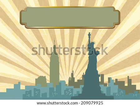 An illustration of New York City skyline in vintage color - stock vector