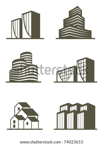 An illustration of real estate building icons - stock vector