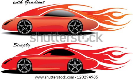 an illustration of red sport car with flames - stock vector