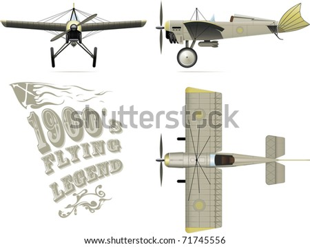 an illustration of retro airplane in 3 projections - stock vector