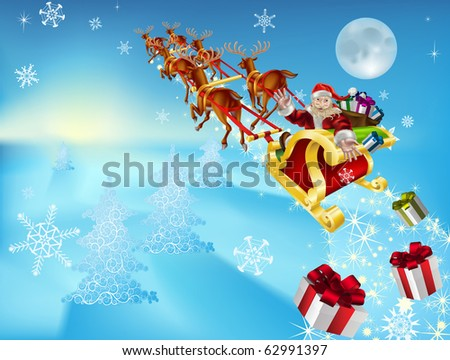 an illustration of santa in his xmas sled or sleigh, delivering his christmas gifts to everyone - stock vector