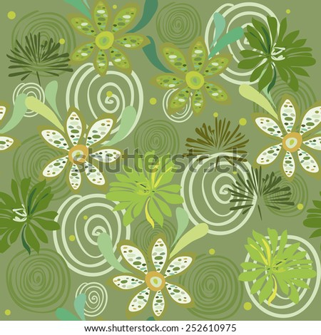 an illustration of seamless pattern with lians, pestles and stamen, chamomiles with leaves, dandelions, pollen and swirls all in green shades - stock vector