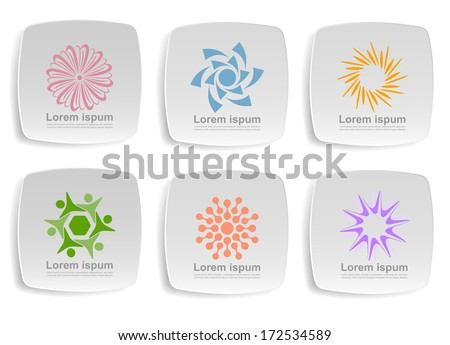 An illustration of six solar icons - stock vector