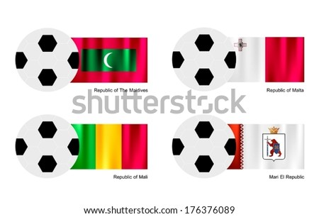 An Illustration of Soccer Balls or Footballs with Flags of Maldives, Malta, Mali and Mari El Republic on Isolated on A White Background.  - stock vector