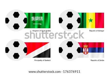 An Illustration of Soccer Balls or Footballs with Flags of Saudi Arabia, Senegal, Principality of Se aland and Serbia on Isolated on A White Background. - stock vector