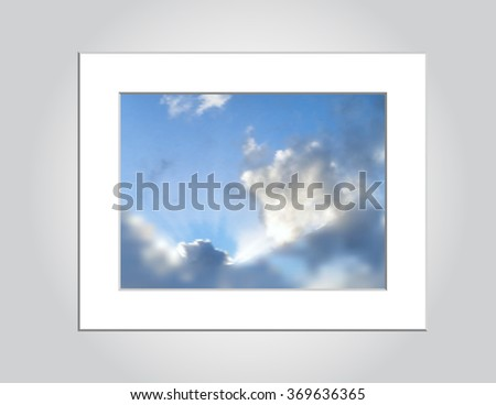 An illustration of sun rays peeking out from a cloud formation, constructed with gradient mesh, no transparency. Vector EPS-10 file.