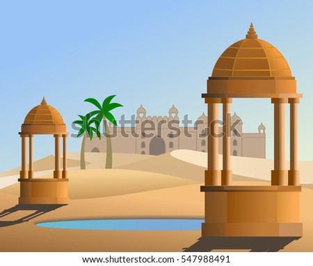 An illustration of Thar desert in Rajasthan state India