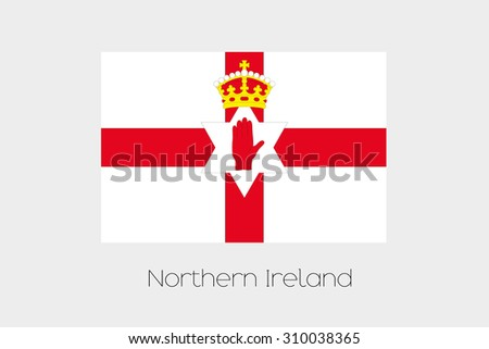 An Illustration of the flag, with name, of the country of Northern Ireland - stock vector