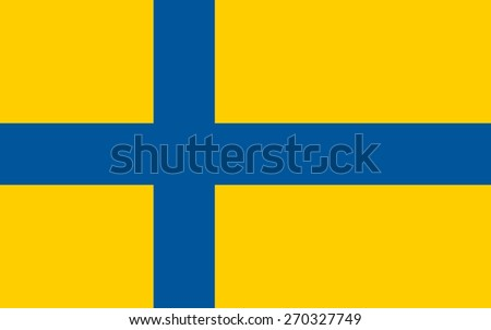 An illustration of the official flag of Sweden in both color and proportions - stock vector
