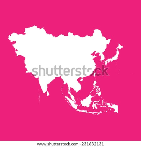 An Illustration of the outline of the continent of Asia - stock vector