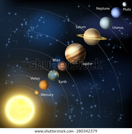 An illustration of the planets of our solar system in orbit around the sun. - stock vector