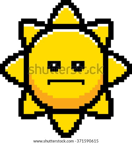 An illustration of the sun looking serious in an 8-bit cartoon style. - stock vector