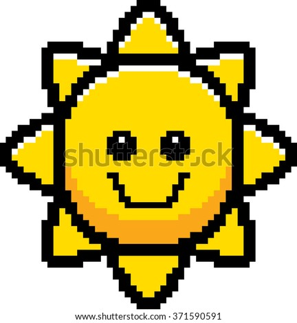 An illustration of the sun smiling in an 8-bit cartoon style. - stock vector