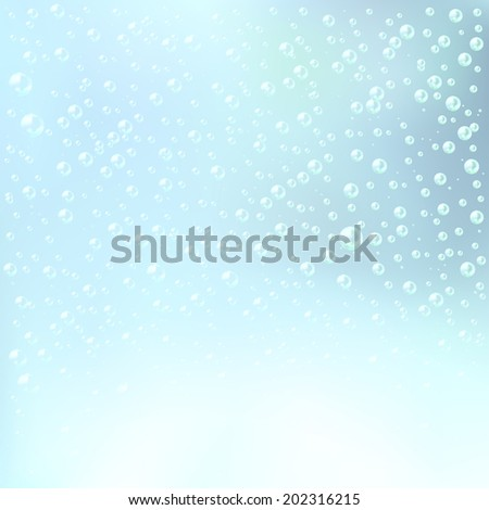 An illustration of the water bubbles background. Layered. - stock vector