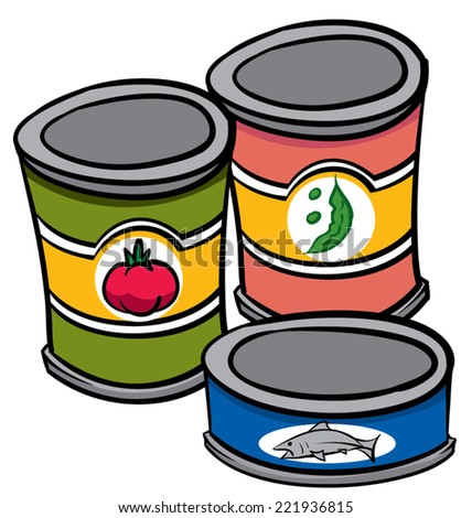An Illustration of three cans of food - stock vector