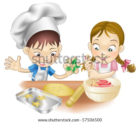 An illustration of two children having fun in the kitchen - stock vector