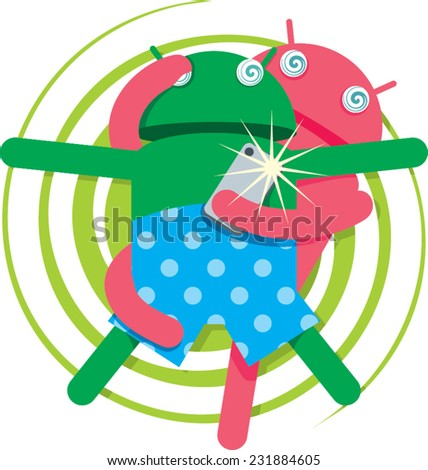 an illustration of two funny robots take a photo using smartphone - stock vector