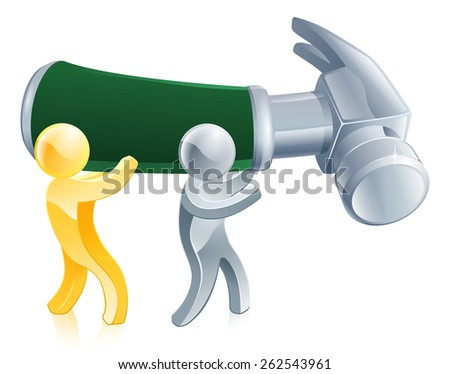 An illustration of two men with a giant hammer - stock vector