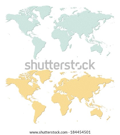 An illustration of two sandpaper earth maps. - stock vector