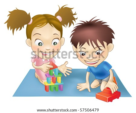 An illustration of two white children playing with toys. - stock vector