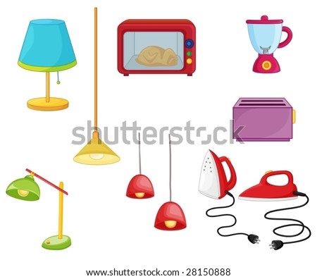 an illustration of various household appliances - stock vector