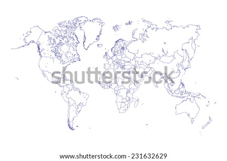 An Illustration of very fine outline of the world (with country borders) - stock vector