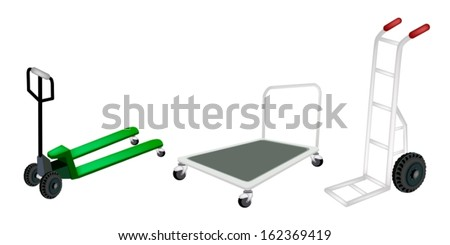 An Illustration of Warehouse or Construction Equipment, Hand Truck, Dolly and Fork Pallet Truck Isolated on White Background  - stock vector