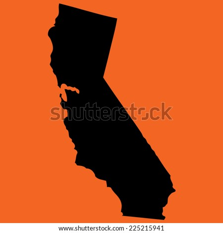 An Illustration on an Orange background of California - stock vector
