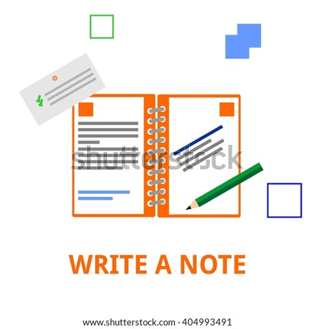 An illustration showing a concept of writing notes - stock vector