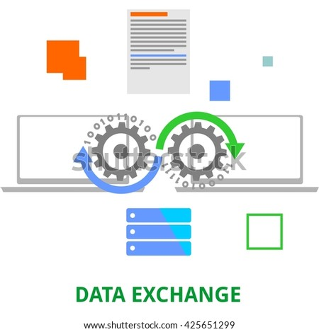 An illustration showing a data exchange concept - stock vector