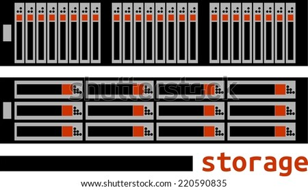 An illustration showing storage area network - stock vector