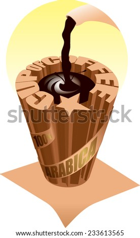 an illustration stylized cup of coffee on white background - stock vector