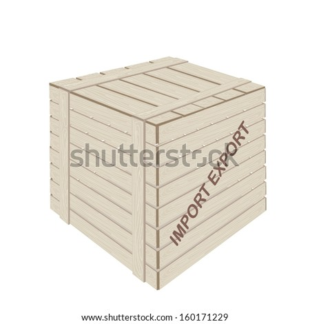 An Illustration Wooden Crate or Cargo Box for Shipping Heavy and Dense Products, Preparing for Freight Shipment.  - stock vector
