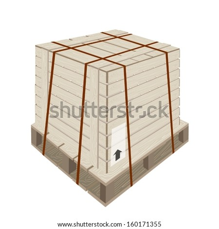 An Illustration Wooden Crate or Cargo Box with Steel Banding on A Wooden Pallet, For Secure Cargo Transportation.
