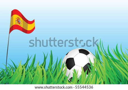 An illustrations of soccer ball, with a spain flag waving at the background.