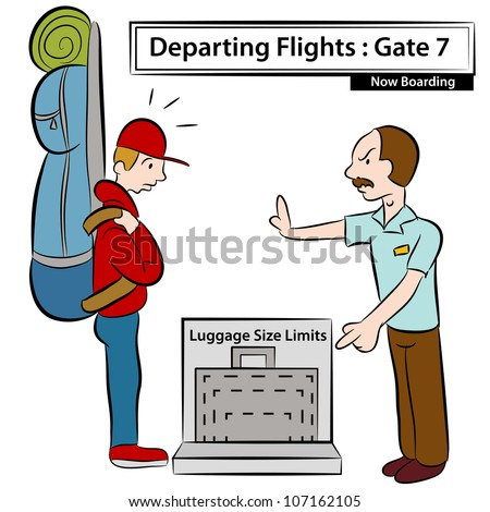 An image of a airport attendant stopping man with oversized luggage. - stock vector