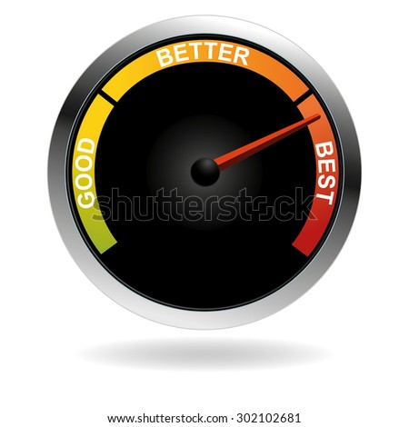 An image of a bad good better best meter with arrow. - stock vector