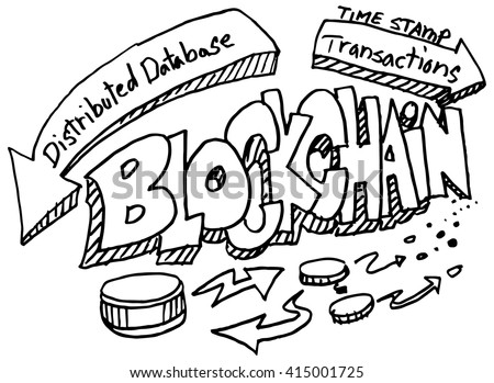 An image of a blockchain doodle set. - stock vector
