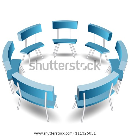 An image of a blue chairs in a circle formation. - stock vector