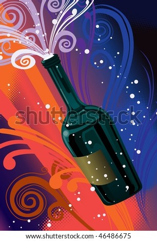An image of a bottle of champagne bursting with fizzy swirls - stock vector