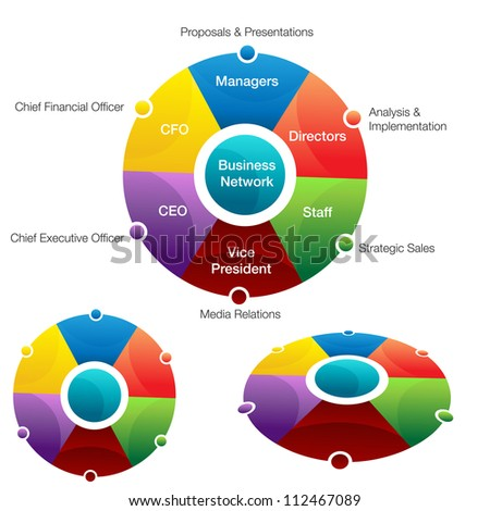 An image of a business network chart. - stock vector