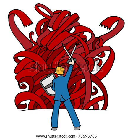 An image of a businessman using sissors and a shield to fight a red tape monster. - stock vector