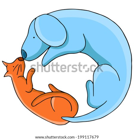 An image of a cat and dog in a circular pattern. - stock vector