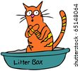 An image of a cat embarrassed using the litter box. - stock photo