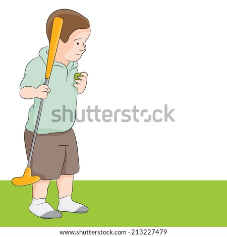An image of a child playing golf. - stock vector