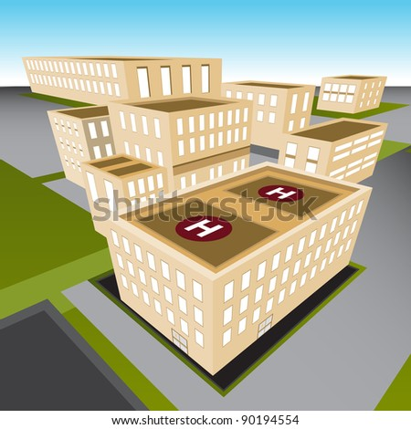 An image of a city hospital. - stock vector