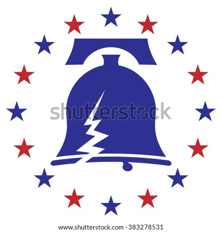An image of a cracked liberty bell icon with stars. - stock vector