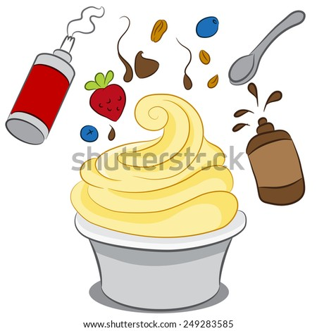 An image of a cup of frozen yogurt with condiments. - stock vector