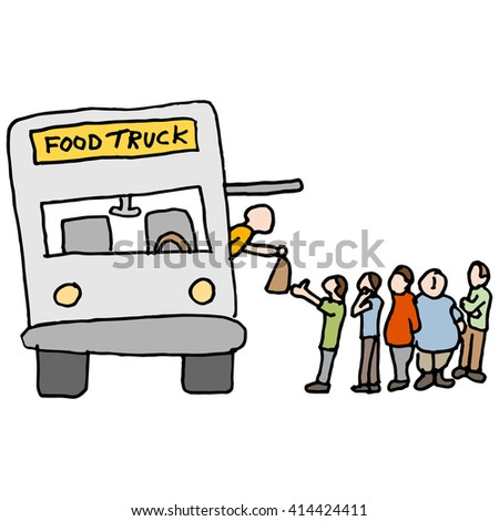 An image of a customers at a food truck. - stock vector